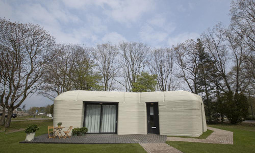 Exterior view of the 3D-printed home in Eindhoven, Netherlands.